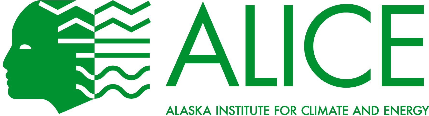 ALICE logo - A person with long wavy green hair